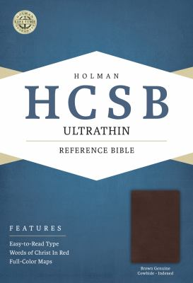 HCSB Ultrathin Reference Bible, Brown Genuine Cowhide Indexed
