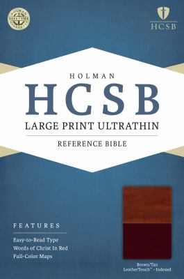 HCSB Large Print Ultrathin Reference Bible, Brown/Tan LeatherTouch Indexed