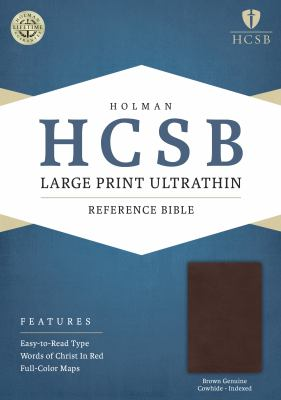 HCSB Large Print Ultrathin Reference Bible, Brown Genuine Cowhide Indexed