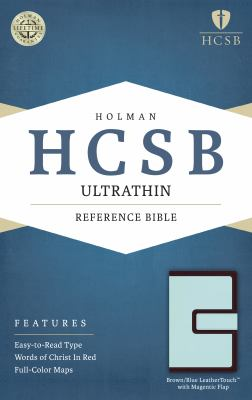 HCSB Ultrathin Reference Bible, Brown/Blue LeatherTouch with Magnetic Flap