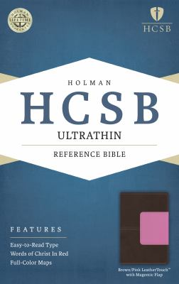 HCSB Ultrathin Reference Bible, Brown/Pink LeatherTouch with Magnetic Flap