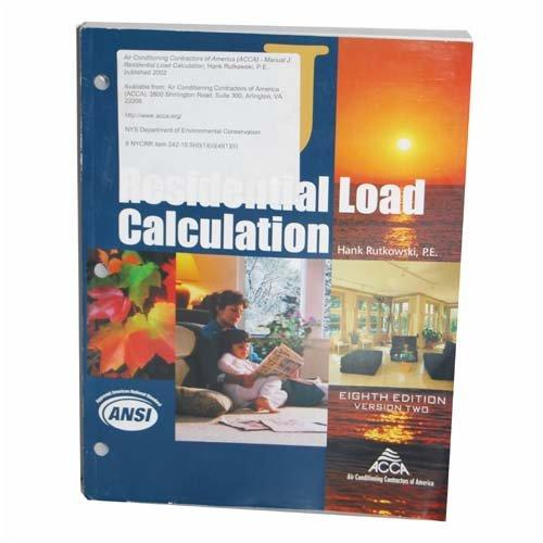 Residential Load Calculation Manual J 8th Ed Manual Guide