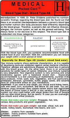 Blood Type Diet - AB - Medical Pocket Card