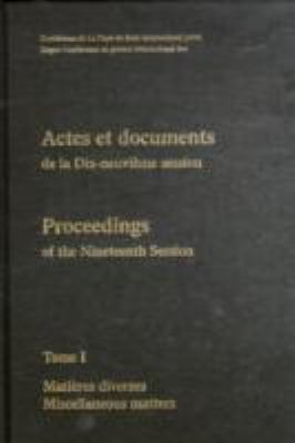 Proceedings/ Actes Et Documents of the Xixth Session of the Hague Conference on Private International Law Book 1, English/French