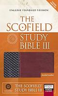 Scofield Study Bible III English Standard Version, Black/burgundy Bonded Leather, Basketweave
