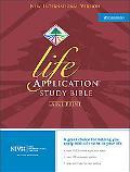 Holy Bible Niv Life Application Bible/Black Bonded Leather/Silver Gilding/Ribbon Marker/Larg...