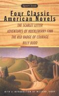 4 Classic American Novels The Scarlet Letter, Adventures of Huckleberry Finn, Red Badge of C...