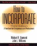 How to Incorporate: A Handbook for Entrepreneurs and Professionals - Michael R. Diamond - Pa...