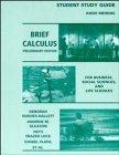 Brief Calculus, Student Study Guide: For Business, Social Sciences, and Life Sciences, Preli...
