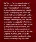 Six Years The Dematerialization of the Art Object from 1966 to 1972  A Cross-Reference Book ...