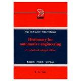 Dictionary for Automotive Engineering, English, French and German: Dictionnaire du Genie Aut...