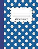 World History: Baseball Blank 4 x 4 Quadrille Squared Coordinate Grid Paper | Blue Sports ga...