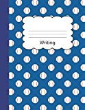 Writing: Baseball Blank 4 x 4 Quadrille Squared Coordinate Grid Paper | Blue Sports game bal...