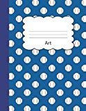 Art: Baseball Handwriting Practice Paper | Blue Sports Fan Game Ball Cover | Dotted Dashed M...