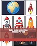 Outer Space Composition Notebook For Kids: Dashed Line Composition Notebook Grades K - 2