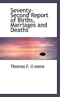 Seventy-Second Report of Births, Marriages and Deaths