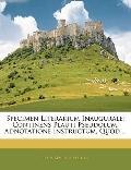 Specimen Literarium Inaugurale: Continens Plauti Pseudolum, Adnotatione Instructum, Quod ......