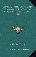 Cursory Notes on Various Passages in the Text of Beaumont and Fletcher