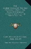 Sacred Books of the Old Testament, Part 2, the Book of Jeremiah : A Critical Edition of the ...