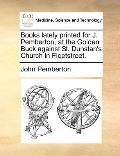 Books Lately Printed for J Pemberton, at the Golden Buck Against St Dunstan's Church in Flee...