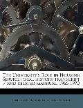 University's Role in Housing Service : Oral history transcript / and related Material, 1966-...