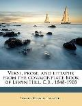Verse, Prose, and Epitaphs from the Commonplace Book of Lewin Hill, C B , 1848-1908