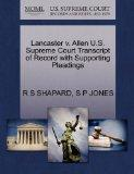 Lancaster v. Allen U.S. Supreme Court Transcript of Record with Supporting Pleadings