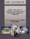 Hobbs v. McLean U.S. Supreme Court Transcript of Record with Supporting Pleadings