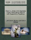 Owen v. Jones U.S. Supreme Court Transcript of Record with Supporting Pleadings