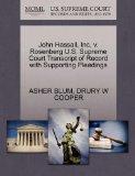 John Hassall, Inc, v. Rosenberg U.S. Supreme Court Transcript of Record with Supporting Plea...