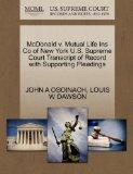 McDonald v. Mutual Life Ins Co of New York U.S. Supreme Court Transcript of Record with Supp...
