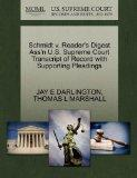 Schmidt v. Reader's Digest Ass'n U.S. Supreme Court Transcript of Record with Supporting Ple...