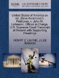 United States of America ex rel. Steve Avramovich, Petitioner, v. John M. Lehmann, Officer i...