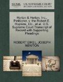 Horton & Horton, Inc., Petitioner, v. the Robert E. Hopkins, Etc., et al. U.S. Supreme Court...