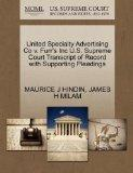 United Specialty Advertising Co v. Furr's Inc U.S. Supreme Court Transcript of Record with S...