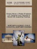 Winkler (Marie) v. Winkler (Frederick) U.S. Supreme Court Transcript of Record with Supporti...