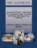Anderson (David) v. Maryland U.S. Supreme Court Transcript of Record with Supporting Pleadings
