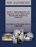 Howie v. Massachusetts U.S. Supreme Court Transcript of Record with Supporting Pleadings