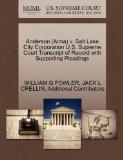 Anderson (Alma) v. Salt Lake City Corporation U.S. Supreme Court Transcript of Record with S...