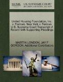 United Housing Foundation, Inc. v. Forman; New York v. Forman U.S. Supreme Court Transcript ...