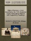 Sibley (George) v. Horn Advertising, Inc. U.S. Supreme Court Transcript of Record with Suppo...