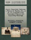 Alvin A. Rosenfeld, Petitioner, v. Richard E. Rumble, Etc., et al. U.S. Supreme Court Transc...
