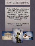 F. David Mathews, Secretary of Health, Education and Welfare, Appellant, v. Jesus Rodriguez ...