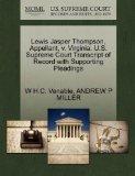 Lewis Jasper Thompson, Appellant, v. Virginia. U.S. Supreme Court Transcript of Record with ...