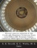Mineral resource potential of the Chuckwalla Mountains Wilderness Study Area (CDCA-348), Riv...