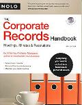 Corporate Records Handbook, the Meetings, Minutes & Resolutions