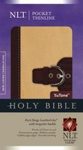 Holy Bible New Living Translation, Port/Beige TuTone, Leatherlike, Pocket Thinline