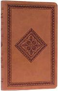 Holy Bible English Stanard Version, Thinline, Tan, Diamond Design, Synthetic Leather, Red Le...
