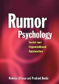 Rumor Psychology Social And Organizational Approaches