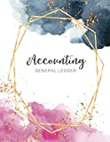 Accounting General Ledger: Watercolor Golden Frame Cover | Financial Accounting Ledger for S...